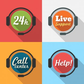 Call Center / Customer Service / 24 hours Support Flat Icon set